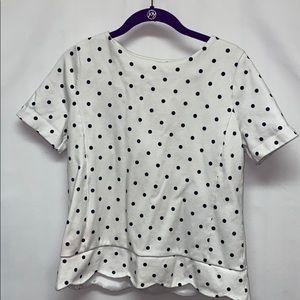 Talbots white and navy blue polka dot top